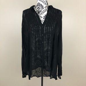 Zara Woman black long sleeved button up shirt